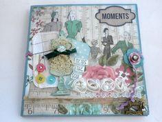 Photo mini album,Scrapbook accordion book, Gift for mom, Retro photo book,Square accordion album, Premade scrapbook mini album,Ready to ship
