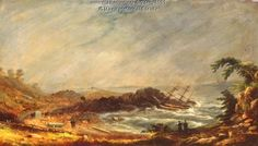 Shipwreck at Pond Cove. Charles Codman (1800-1842), a well-known Portland artist, used one of the original pews from First Parish Church in Cape Elizabeth, as the surface for his oil painting of a shipwreck at Pond Cove in Cape Elizabeth. Item # 6151 on Maine Memory Network