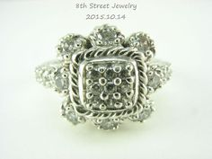 Retired Judith Ripka Sterling Silver Diamonique Cushion Heirloom Ring Size 9 #JudithRipka #Cluster