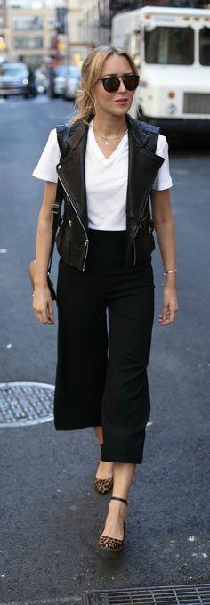 black culottes, black leather vest, white tee, leopard block heel ankle strap pumps, black handbag {milly, dawn levy, zady, sam edelman} {new york fashion week ss17}