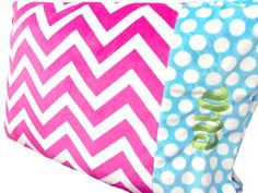 Personalized Minky Chevron PillowcaseHot Pink and by babyboos, $25.00