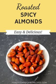 These Spicy Roasted Almonds are gluten-free, vegan and low carb. This is one irresistible snack! Spicy Almonds, Good Healthy Recipes, Spicy Recipes, Vegan Recipes, Savoury Recipes, Snacks Recipes, Amazing Recipes, Delicious Recipes, Gourmet