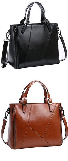 Iswee Women s Genuine Leather Handbag Urban Style Tote Top Handle 08d9719338caa