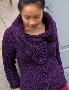 Free Knitting Pattern for Jacqueline Jacket - This cardigan by Karina Liu was inspired by the fashion of the '60s and features a chunky convertible collar that can be worn buttoned up or open and a textured rizotto stitch in bulky yarn.