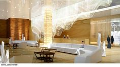 Comfortable Hotel Lobby Design Concept may be suitable for your inspiration. Hotel Lobby Design, Plywood Furniture, Beach Hotels, Hotels And Resorts, Lobby Lounge, Lobbies, Decoration, Opera House, Interior Design