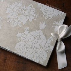 Wedding Guest Book, French Damask in Ivory, LARGE 9x7, MADE upon ORDER. $45.00, via Etsy.