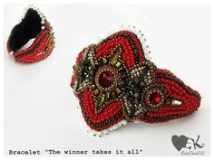 Beaded Bracelet big size bold red gold crystals by RebelSoulEK