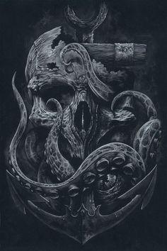 THE LOCKER Custom Print Octopus Skull Anchor Black by grabinkART: