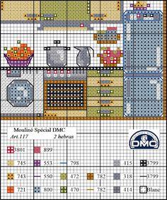 O Blog da DMC: Esquema casa em ponto de cruz: a cozinha