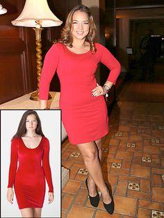 ADAMARI LÓPEZ    La presentadora del programa Un nuevo día (Telemundo) mostró sus curvas con este ajustado minivestido color rojo. Lúcete con este modelo de American Apparel, por $44.