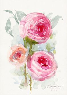 SMALL ART Original Watercolor PAINTING 148x21 cm Art by sabaiover, $20.00