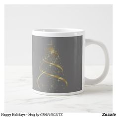 Shop Happy Holidays - Mug created by GRAPHICSITE. Extra Large Coffee Mugs, Happy Holidays, Holiday Gifts, Beverages, Ice Cream, Ceramics, Tableware, Xmas Gifts, No Churn Ice Cream