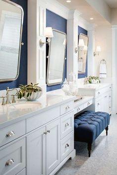 White bathroom with navy wallpaper. This white bathroom features Phillip Jeffries Manila Hemp Wallpaper in a navy color. white-bathroom-with-navy-wallpaper Tracy Lynn Studio Bathroom Renos, Bathroom Renovations, Bathroom Interior, Bathroom Ideas, Bathroom Makeovers, Bathroom Designs, Master Bathroom Vanity, Small Bathroom, Navy Bathroom