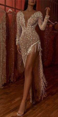 Deep V Long Sleeve Side Slit Asymmetric Dress Deep V Long Sleeve Side Slit Asymmetric Dress,Brautmode, extravagant und ausgefallen Fashion evening dresses for women, good choice for party, beautiful design and plus size you. Sequin Evening Dresses, Evening Dresses For Weddings, Party Dresses For Women, Evening Gowns, Wedding Dresses, Wedding Outfits, Evening Outfits, Summer Outfits, Sequin Maxi