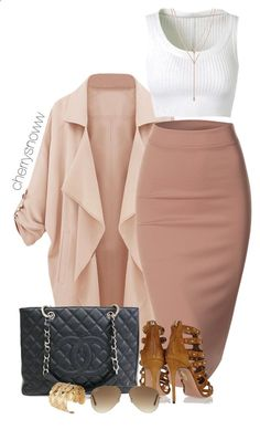 Classy luxury outfit by cherrysnoww ❤ liked on Polyvore featuring Doublju, Chanel, Aquazzura, Ray-Ban, Alaïa and Vince Camuto