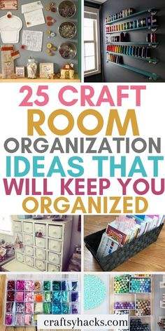 25 Craft Room Organization Ideas That Will Keep You Organized Organize craft room with these organization hacks. These organizing tips will help you to stay in control of your home, keep it neat and org Sewing Room Organization, Craft Room Storage, Organization Ideas, Craft Room Organizing, Craft Storage Solutions, Organizing Art Supplies, Organized Craft Rooms, Craft Supplies, Sewing Room Storage