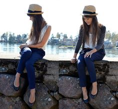 navy pants/shoes