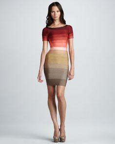 2012 Herve Leger Ombre-Stripe Short-Sleeve Bandage Dress