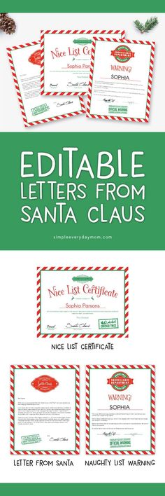 Printable Letters From Santa | Your kids will love getting these Christmas printables. Included is a nice list certificate, an editable letter from Santa, a naughty letter warning and an envelope from Santa. #christmas #kids #santaclaus #kidschristmas #nicelist #printables #printablesforkids #simpleeverydaymom #christmasfun