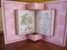 My first attempt at a book fold card. This is the inside view.Book Fold Card by Michele G - Cards and Paper Crafts at Splitcoaststampers Tri Fold Cards, Fancy Fold Cards, Folded Cards, Pop Up Cards, Cool Cards, 3d Cards, Cascading Card, Tarjetas Pop Up, Album Scrapbook