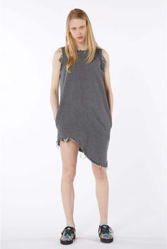 Grey sleeveless asymmetric dress