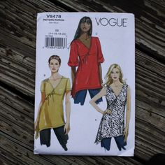 Vogue 8478 Asymmetrical Tunic Blouse Top Boho by EleanorMeriwether