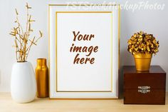 White Frame Mockup with wooden box. Wedding Card Templates