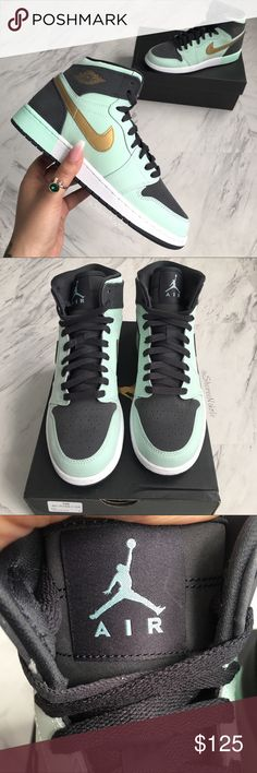 competitive price 4993c 0af4e JORDAN Shoes Air Retro 1 ☺ BRAND NEW with box READY TO SHIP Nike Air JORDAN  Shoes Retro 1 100% Authentic Women s Sneaker Color   black + mint Size   Youth ...