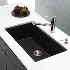 Shop Kraus Kitchen Sink 17.09-in x 30.47-in Black Onyx Single-Basin Granite Undermount Residential Kitchen Sink All-In-One Kit at Lowes.com
