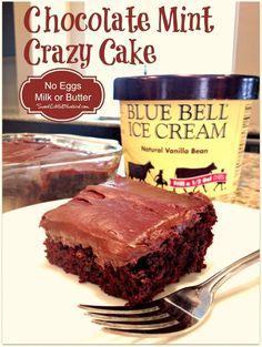 Chocolate Mint Crazy Cake - No eggs, Milk or Butter - Sweet Little Bluebird, use GF flour Cookie Desserts, Vegan Desserts, Easy Desserts, Delicious Desserts, Dessert Recipes, Vegan Cake, Vegan Sweets, Crazy Cake Recipes, Crazy Cakes