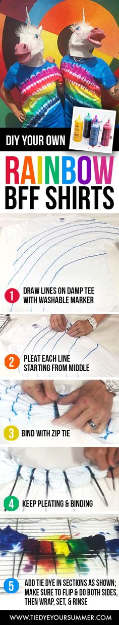 Make your own Rainbow BFF shirts using Tulip One-Step Tie Dye!  Grab your washable markers, zip ties, and dyes and create a shirt for you and your bestie today!