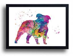 English Bulldog Watercolor Art Print Dog Watercolor Dog painting Dog poster…