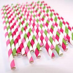 Strawberry Shortcake inspired Mix Striped Paper Straws (30 Count) - Birthday Party, Baby Shower, Bridal Shower, Wedding, Cake Pops