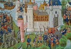 Assassination of Yvain de Galles at the siege of the castle of Mortagne-sur-Gironde, from Jean de Wavrin's 'Chronique d'Angleterre'.