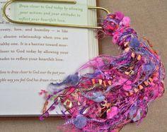 "Bookmark -  BIG 4"" Oversized Paperclip and Fancy Yarn Fiber Puff Tassel - Magenta, Pink & Purple Watercolor"