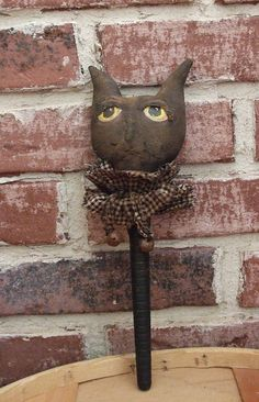 Primitive Halloween Bobbin Black Cat Shaker by Skunkhollow on Etsy