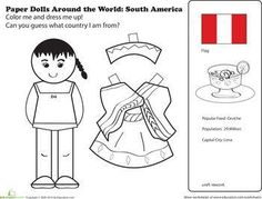 Hispanic Heritage Month First Grade Paper Dolls Community & Cultures Worksheets: Paper Dolls Around the World: Latin America II Social Studies Worksheets, 1st Grade Worksheets, Free Printable Worksheets, Worksheets For Kids, Seasons Worksheets, Free Printables, Kids Around The World, Around The Worlds, Culture Day