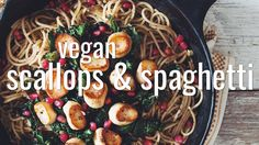 making vegan scallops from king oyster mushrooms is easy. This dish is full of flavour and texture combined with spaghetti, crispy kale, and pomegranates in ...