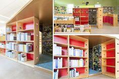 Bac à BD et livres d'images en bois pour bibliothèques