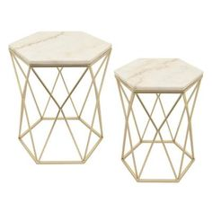 Modernize your seating area with the Three Hands 2 Piece Contemporary Marble Top End Table Set . The set gives you a pair of matching champagne-colored. Nesting Tables, Marble Top, Decor, Geometric Side Table, Table Settings, Table, Tv Stand Wood, End Table Sets, Marble Top End Tables
