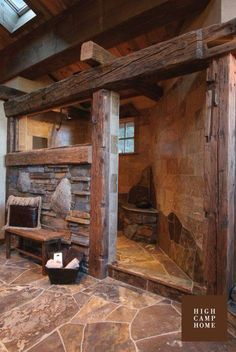 Rustic shower stall.