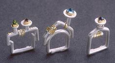 Felicity Peters  ||  House Rings Stg silver 24ct & 18ct gold and semi precious stones
