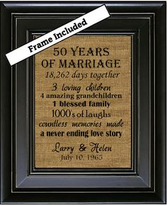 FRAMED 50th Wedding Anniversary/50th Anniversary Gifts/50th Wedding Anniversary Gifts/50 years of Marriage/Gold Anniversary Gift/Burlap Art