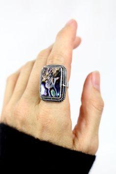 Abalone Shell Ring Silver Rings Boho Rings by bohogypsymoon11