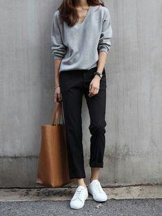 Fall trends   Minimal grey sweater, black pants, sneakers, handbag