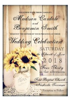 Rustic Country Sunflowers Mason Jar Wedding Invitations on barn wood.  Two Sided Design.  Perfect for a country wedding.  40% OFF when you order 100+ Invites.  #wedding #sunflowers