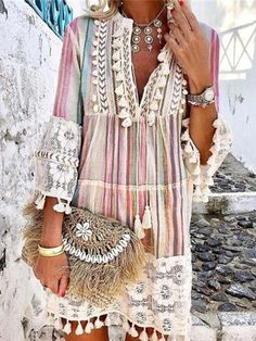 Bohemian Mode, Bohemian Style, Types Of Sleeves, Dresses With Sleeves, Look Boho Chic, Casual Dresses, Summer Dresses, Mini Dresses, Dresses Dresses