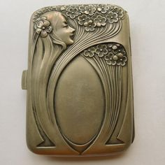 Cigarette/Card Box - Magnificent French Antique Art Nouveau Sterling Silver - Circa 1900 in beautiful original condition - Hallmarked by manufacturer.