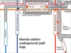 Map of Namba stations underground (Click to enlarge)