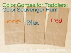 Color Games for Toddlers - Color Scavenger Hunt -- Moms Have Questions Too